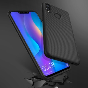 Twill Texture TPU Back Mobile Cover for Huawei Y9 (2018) / Enjoy 8 Plus - Black