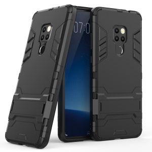Cool Guard Plastic + TPU Hybrid Case with Kickstand for Huawei Mate 20 - Black