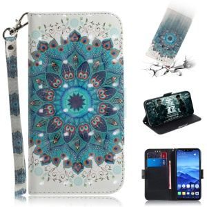 Light Spot Decor Patterned Wallet Stand PU Leather Phone Shell for Huawei Mate 20 Lite - Mandala