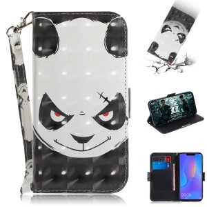 Light Spot Decor Patterned Wallet Stand PU Leather Phone Case for Huawei P Smart+ / nova 3i - Angry Panda