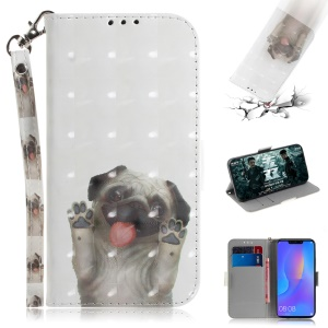 Light Spot Decor Patterned Wallet Stand Magnetic PU Leather Phone Case for Huawei P Smart Plus / nova 3i - Dog Waving Paws
