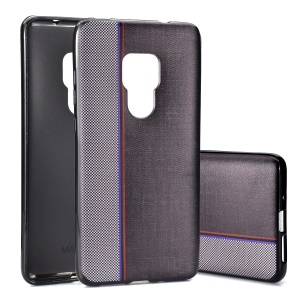 Mobile Case For Huawei Mate 20 [Splicing Jeans Cloth Texture] Soft TPU Case - Grey / Black