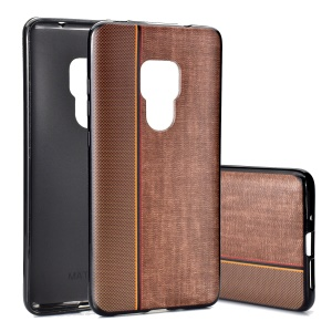 Mobile Cover For Huawei Mate 20 [Splicing Jeans Cloth Texture] Soft TPU Case - Coffee