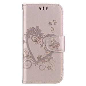 Imprint Heart Flower Wallet Leather Cover for Huawei Y5 (2018) / Y5 Prime (2018) / Honor 7s / Play 7 - Gold