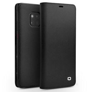 QIALINO Classic Gen II Cowhide Genuine Leather Wallet Mobile Case for Huawei Mate 20 Pro - Black