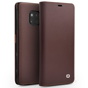 QIALINO Classic Gen II Cowhide Genuine Leather Wallet Cellphone Case for Huawei Mate 20 Pro - Brown