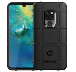 Anti-shock Square Grid Texture TPU Phone Case for Huawei Mate 20 - Black