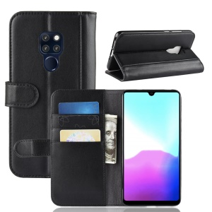 Split Leather Case with Wallet Stand for Huawei Mate 20 - Black