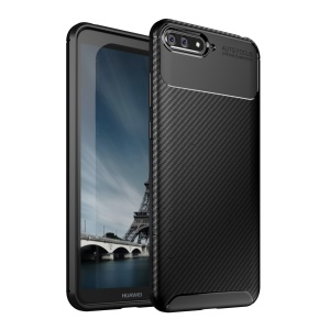 Beetle Series Carbon Fiber TPU Protection Cellphone Case for Huawei Y6 (2018) / Honor 7A (without Fingerprint Sensor) - Black