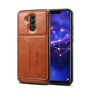 Crazy Horse Texture Leather Coated TPU Kickstand Card Holder Case for Huawei Mate 20 Lite/Maimang 7- Brown