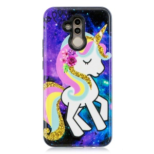 Embossment Patterned PC TPU Hybrid Case for Huawei Mate 20 Lite / Maimang 7 - Shy Unicorn