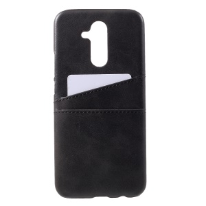 Dual Card Slots PU Leather Coated PC Cover for Huawei Mate 20 Lite / Maimang 7 - Black