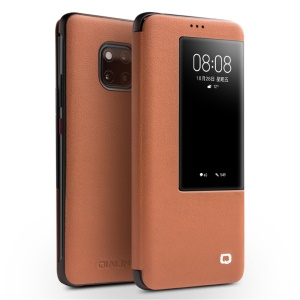QIALINO for Huawei Mate 20 Pro View Window Cowhide Leather Smart Shell - Brown