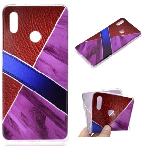 Splicing Marble Pattern and Leather Texture TPU Case for Huawei Honor Note 10 - Purple
