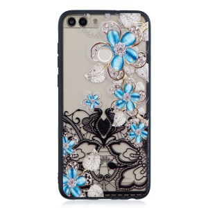 Lace Embossment Rhinestone Flower PC TPU Combo Mobile Phone Case for Huawei Honor 9i (2018) 5.84-inch / Honor 9N (India) - Blue Flower