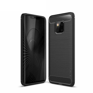 IPAKY Carbon Fiber Texture Brushed TPU Phone Casing for Huawei Mate 20 Pro - Black