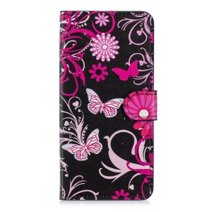 Pattern Printing Magnetic Leather Wallet Case for Huawei Mate 20 Pro - Butterfly Flowers