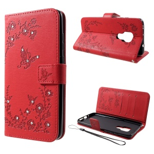 For Huawei Mate 20 Imprint Butterfly Flower Rhinestone Decor Wallet Leather Case - Red