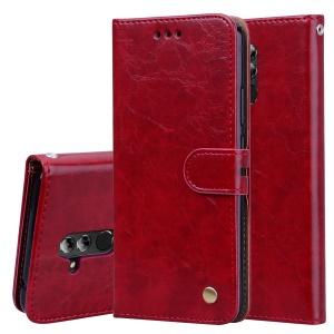 HAT PRINCE Oil Wax PU Leather Wallet Phone Cover for Huawei Mate 20 Lite - Red