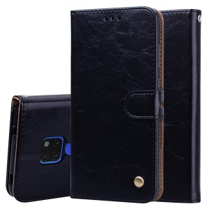 HAT PRINCE for Huawei Mate 20 Oil Wax PU Leather Case Wallet Stand Cover - Black