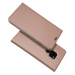 Magnetic Adsorption Leather Card Holder Cover for Huawei Mate 20 - Rose Gold