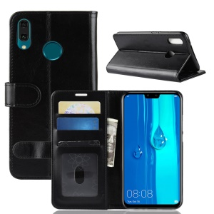 Crazy Horse Wallet Leather Stand Case for Huawei Y9 (2019) / Enjoy 9 Plus in China - Black
