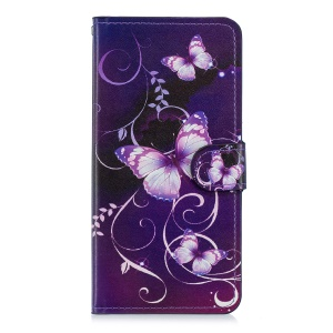 Pattern Printing Leather Stand Case with Card Slots for Huawei Mate 20 - Purple Butterflies