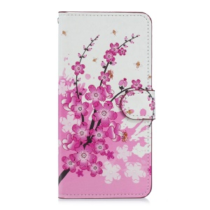 Patterned Magnetic Leather Wallet Case for Huawei Mate 20 - Plum Blossom