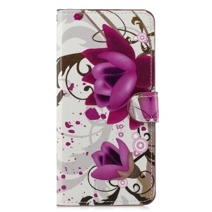 Pattern Printing Leather Wallet Stand Case for Huawei Honor 8X/Honor View 10 Lite - Purple Flower