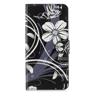 Pattern Printing Leather Flip Phone Cover for Huawei Honor 8X - Butterfly and White Flower