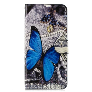 Pattern Printing Leather Mobile Phone Casing for Huawei Honor 8X/Honor View 10 Lite - Blue Butterfly