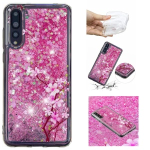 Embossing Pattern Quicksand TPU Shell for Huawei P20 Pro - Peach Blossom