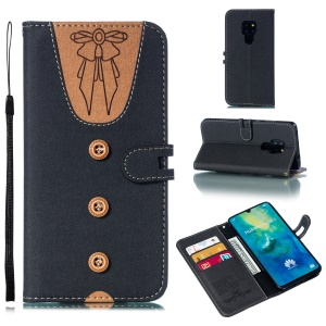 For Huawei Mate 20 Splicing Leather Case [Imprint Women Bow-tie] [Button Decor] - Black
