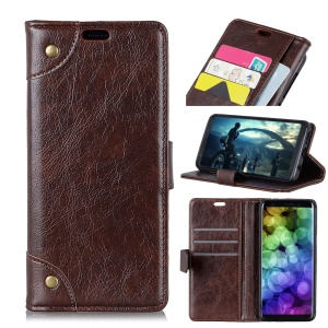 Textured PU Leather Wallet Stand Phone Shell for Huawei Y9 (2019) / Enjoy 9 Plus - Coffee