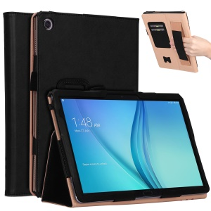 For Huawei Mediapad C5 10 / M5 Lite 10 PU Leather Smart Case / Card Slots / Stand / Hand Strap - Black