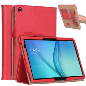 For Huawei Mediapad C5 10 / M5 Lite 10 PU Leather Smart Cover / Card Slots / Stand / Hand Strap - Red
