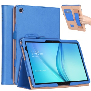 For Huawei Mediapad C5 10 / M5 Lite 10 PU Leather Flip Case / Card Slots / Stand / Hand Strap - Blue
