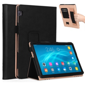 For Huawei MediaPad T5 10 PU Leather Smart Case / Card Slots / Stand / Hand Strap - Black