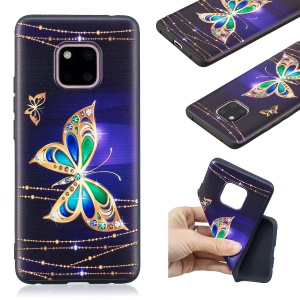 Pattern Printing Embossed TPU Case Accessory for Huawei Mate 20 Pro - Colorized Butterfly