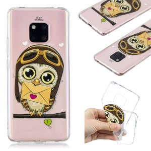 Pattern Printing TPU Shell Case for Huawei Mate 20 Pro - Owl Pattern