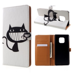 Pattern Printing Leather Wallet Stand Case for Huawei Mate 20 Pro - Black Cat