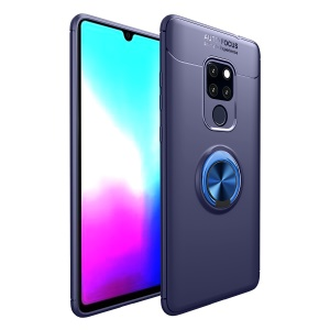 Finger Ring Kickstand TPU Cover Shell Case for Huawei Mate 20 X (Built-in Metal Sheet) - Blue