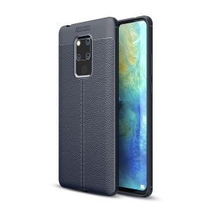Litchi Grain TPU Protection Cover Case for Huawei Mate 20 X - Dark Blue