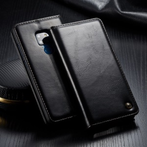 CASEME Oil Wax Leather Magnetic Flip Wallet Case for Huawei Mate 20 - Black