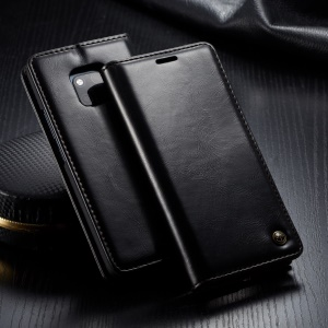 CASEME Oil Wax PU Leather Retro Wallet Case for Huawei Mate 20 Pro - Black