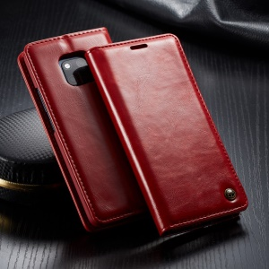 CASEME 003 Series Oil Wax PU Leather Cover Business Flip Case for Huawei Mate 20 Pro - Red