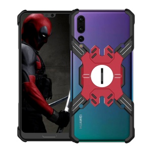 Heroes Series Bumper Frame for Huawei P20 Pro [X-Shaped] Electroplating Metal Bumper Casing with Kickstand - Black / Red
