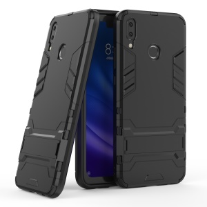 Cool Guard Plastic + TPU Hybrid Phone Case with Kickstand for Huawei Y9 (2019) / Enjoy 9 Plus - Black