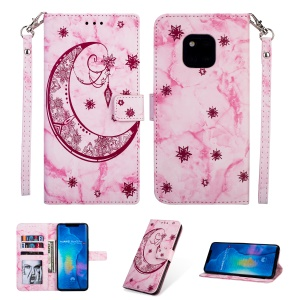 For Huawei Mate 20 Pro Leather Case [Imprinted Moon Pattern] [Marble Style] - Rose
