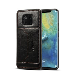 Crazy Horse PU Leather Coated Hybrid Case with Card Holder for Huawei Mate 20 Pro - Black